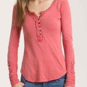Free People Coral Red Crochet Cuff Long Sleeve Tee